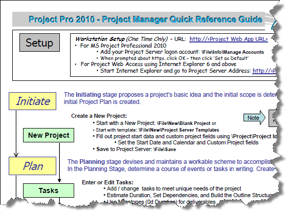 microsoft project pro 2010 for project managers quick reference guide
